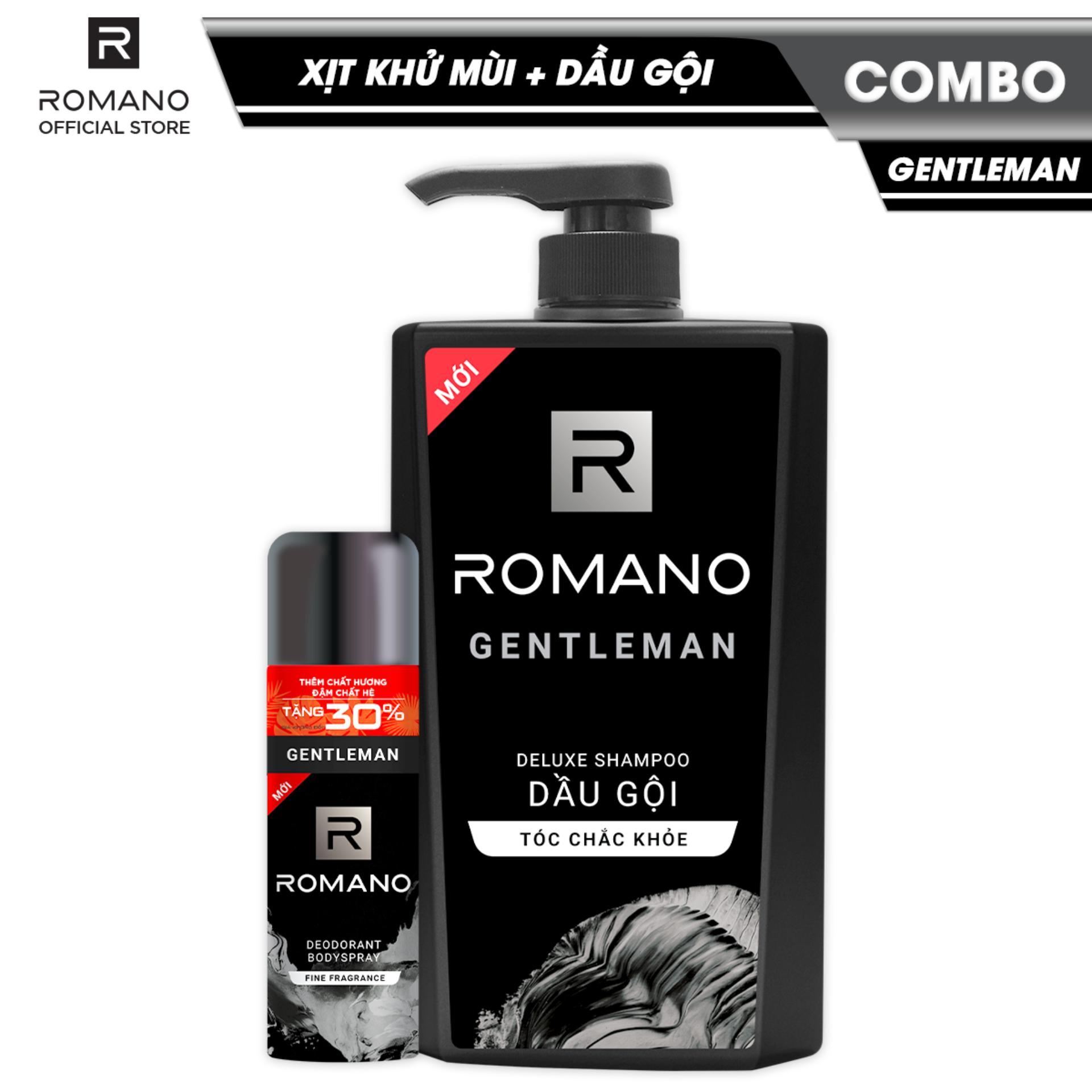 Combo Romano Gentleman: Xịt toàn thân lịch lãm ngăn mồ hôi mùi cơ thể 195ml và dầu gội cao cấp tóc chắc khỏe 650g