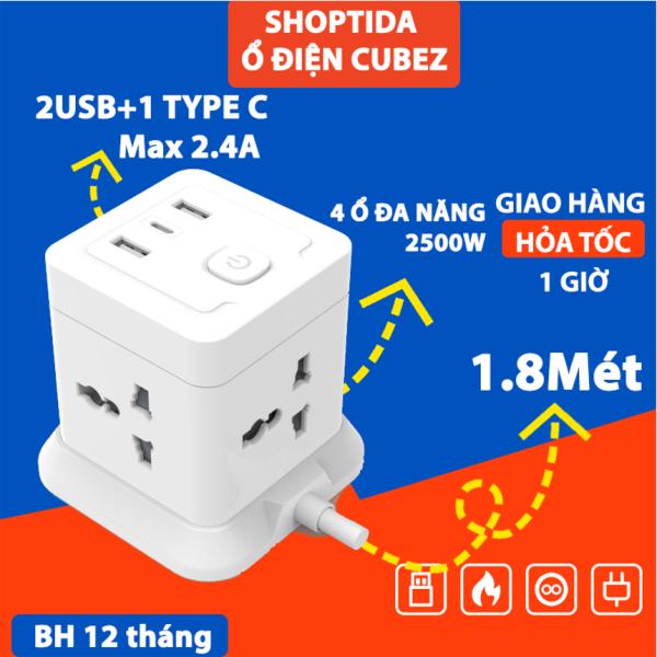 Combo 2 Ổ Cắm Điện Đa Năng CubeZ/WorkZ Shoptida 3 Cổng USB/TypeC 12W và 4 Ổ Điện chịu tải 2500W Dây nối dài 1.8m
