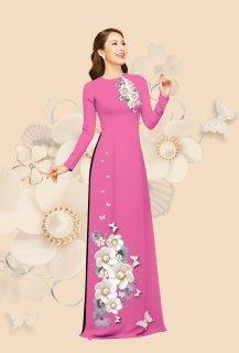 [HCM]Áo dài truyền thống in hoa dành dành cao cấp - KHÔNG KÈM QUẦN thumbnail