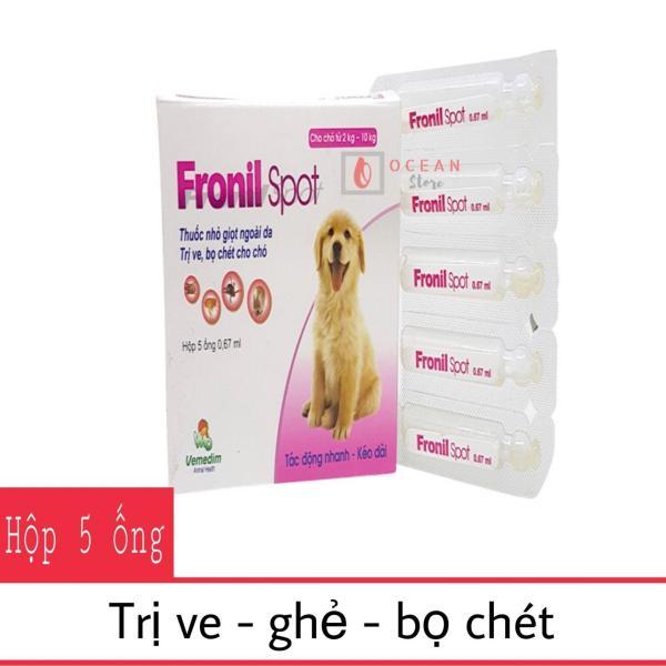 HN- Hộp 5 ống th uốc nhỏ sống lưng đặc trị ve, rận, bọ chét trên chó, mèo- Fronil Spot hộp 5 ống (dùng cho mọi loại chó) 116