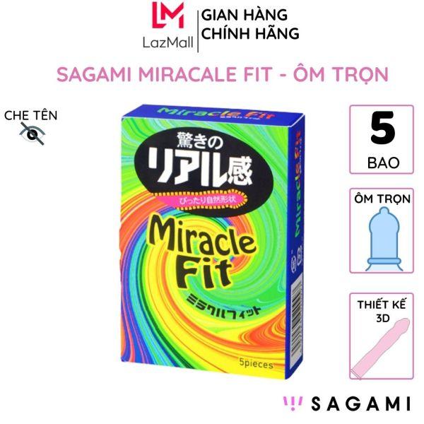 Bao cao su sagami Miracle Fit hộp 5 chiếc thiết kế 3D ôm khít chống tuột kéo dài thời gian cao cấp