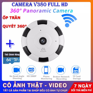 (Kèm Thẻ Nhớ 64 Gb,BH 5 Năm) camera wifi Full HD 2.0 mpx 1920 X 1080P , camera ốp trần v380 pro , camera không dây , camera siêu nhỏ tầm qua sát rộng , ghi âm ghi hình quan sát cả ngày đêm thumbnail