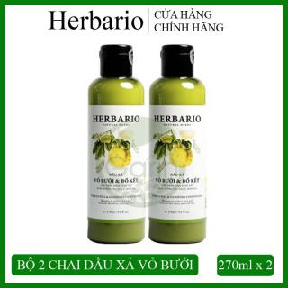 Bộ 2 chai Dầu xả vỏ bưởi & bồ kết Herbario (270ml x 2) giúp giảm rụng tóc, nuôi dưỡng từng sợi tóc cho tóc luôn chắc khỏe và suôn mượt thumbnail