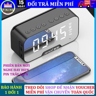 Loa bluetooth không dây màn hình led kiêm đồng hồ báo thức, làm đèn ngủ, đo nhiệt độ phòng với mặt kính tráng gương, pin trâu hỗ trợ dây AUX và thẻ nhớ thumbnail