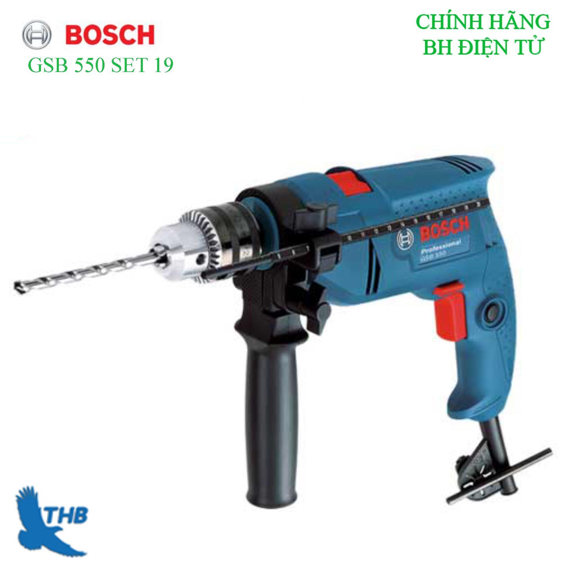 Bộ máy khoan động lực Bosch GSB 550 set 19 món phụ kiện
