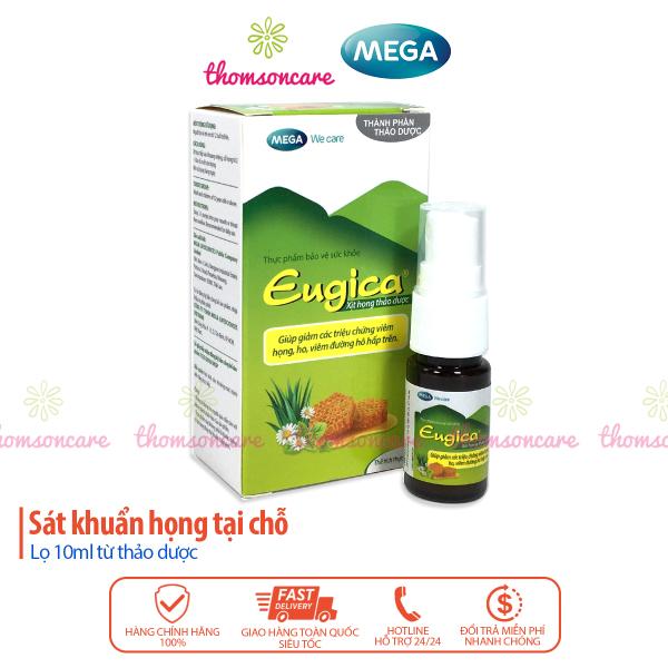 Xịt họng từ thảo dược Eugica - hỗ trợ giảm ho, đau họng từ mật ong, bạc hà, cam thảo và dược liệu Lọ 10ml có vòi xịt sâu giá rẻ