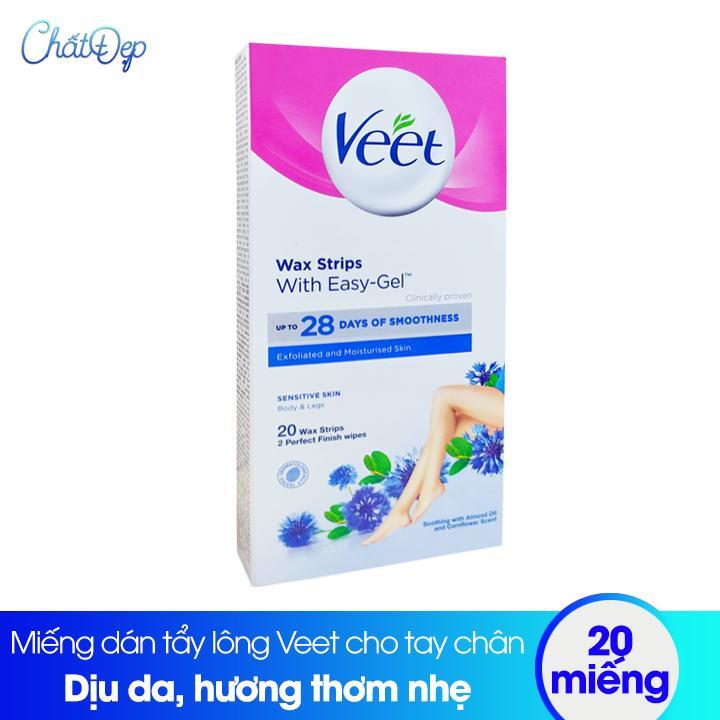 Miếng dán tẩy lông Veet wax strips cho tay chân - 20 miếng
