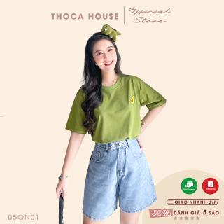 Quần jeans nữ ngố short wax kiểu 2 nút lưng 377 THOCA HOUSE trẻ trung, năng động, chuẩn form dày dặn thumbnail