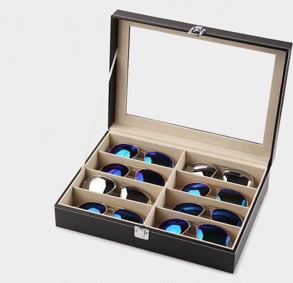Hộp đựng mắt kính 8 chiếc cao cấp chất kính bọc da bán chạy