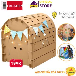 Nhà giấy lắp ghép được Freeship 60K + 1 quà- Lều giấy hoàng tử công chúa bằng bìa carton, Nhà giấy carton lắp ráp cho bé, nhà lắp ghép thông minh 3 lớp chắc chắn an toàn, siêu bền cho bé thỏa sức vui chơi thumbnail