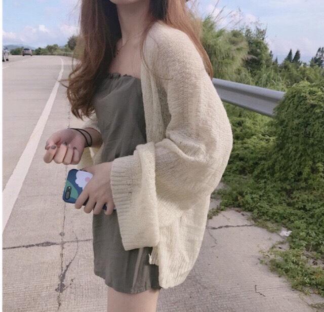 Áo cardigan len mỏng nữ hàng qc SIÊU ĐẸP, Áo khoác Cardigan nữ mỏng Hàn Quốc_ áo cardigan len mỏng tay rộng như hình