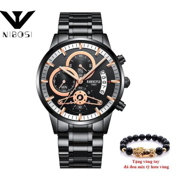 XPLUS - Đồng hồ nam 6 kim lịch ngày NIBOSI 2309 dây thép  cao cấp MDL-NB23091, tặng vòng tay tỳ hưu bán chạy