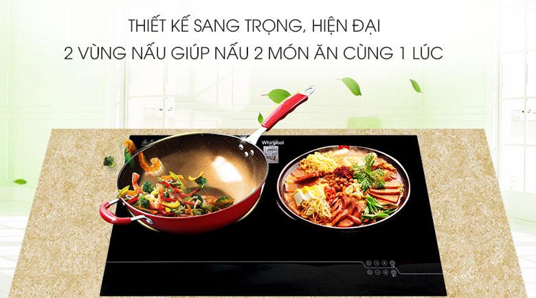 bếp điện đôi Whirlpool ACH7327-HÀNG CHÍNH HÃNG-Mặt bếp:  Ceramic Bảng điều khiển:  Cảm ứng Loại nồi nấu:  Vùng từ sử dụng nồi có đáy nhiễm từ, vùng hồng ngoại không kén n