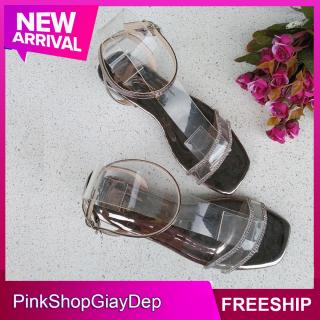 (Miễn ship) Giày nữ, giày sandal nữ quai chéo PinkShopGiayDep đính cườm lên chân sang chảnh, dép cao gót nữ 3p đi học thumbnail