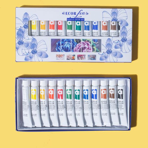 [HCM]Set bột vẽ cọ bản Ecor Fin chính hãng 12 màu chuyên dụng (12ml/tuýp - 1 set/ 144ml) giá rẻ