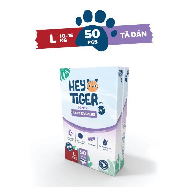 [ĐỘC QUYỀN TẠI LAZADA] - Tã/Bỉm Dán Hey Tiger cho bé 10kg - 15kg - Gói lớn Size L50 miếng