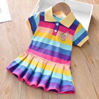 Váy Bé Gái Váy Trang Trí Chú Thỏ Dễ Thương Đầm Công Chúa Ngắn Tay Cầu Vồng Bé Gái Mới Cotton 1-6Y