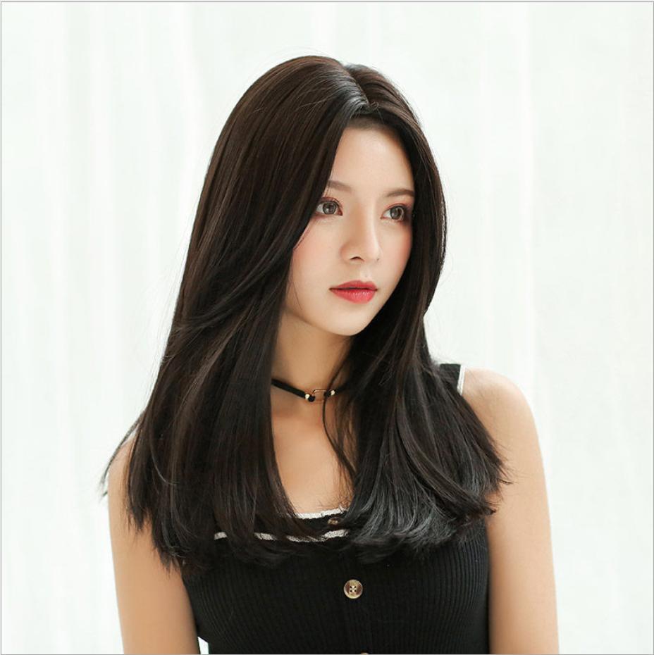 [TẶNG KÈM LƯỚI] Tóc giả nữ sợi tơ Hàn Quốc CÓ DA ĐẦU - TG80 ( NÂU SOCOLA Y HÌNH )