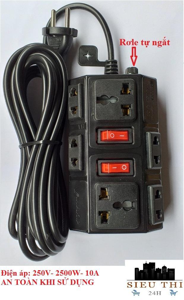 Ổ cắm điện đa năng 6 ổ cắm 2 công tắc đóng ngắt, có rơle bảo vệ dài 5m điện áp 250V – 2500W – 10A