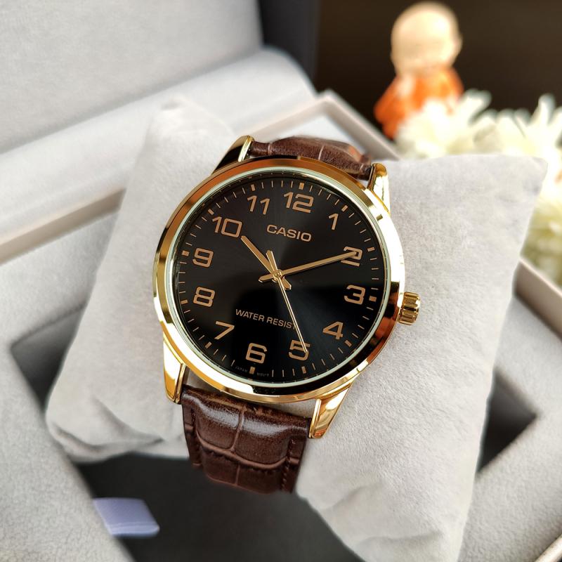 Đồng hồ nam CASl0 MTP-V001GL-1BUDF Dây da nâu
