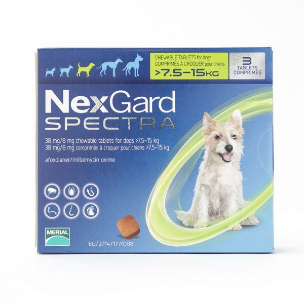 1 Hộp/3Viên nhai giúp loại bỏ nội ngoại kí sinh ở chó Nexgard Spectra 7.5kg-15kg