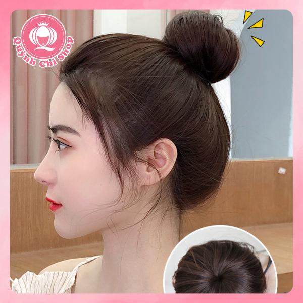 Tóc giả búi củ tỏi CAO CẤP búi tóc  cao tự nhiên giống tóc thật dây rút tiện lợi nhập khẩu