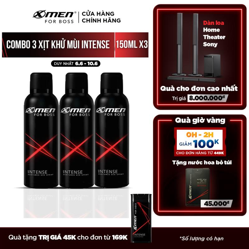 Combo 3 Xịt khử mùi X-Men for Boss Intense 150ml/chai
