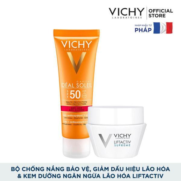 Bộ kem chống nắng bảo vệ và giúp giảm các dấu hiệu lão hóa Vichy Ideal Soleil Anti-Age SPF50 50ml và Kem dưỡng ngăn ngừa lão hóa Liftactiv 15ml
