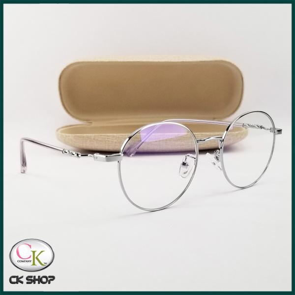 Mua Gọng kính cận nam nữ mắt tròn kim loại màu đen, bạc, vàng hồng 2999. Tròng/mắt kính giả cận 0 độ chống ánh sáng xanh, chống tia UV