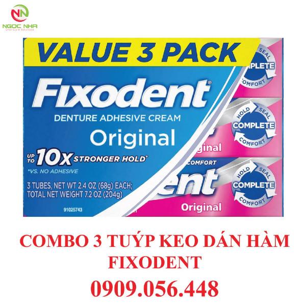 Combo 3 tuýp Keo dán hàm răng giả hàm tháo lắp Fixodent 68g, hàng chính hãng/ Fixodent Denture Adhesive