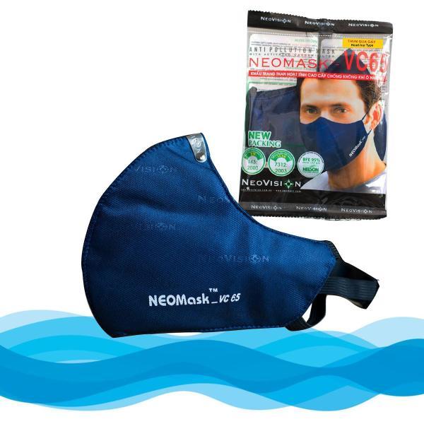 Mặt Nạ Khẩu-Trang than hoạt tính NeoVision NeoMask VC65 đạt chuẩn N95 (Thun Qua Gáy) - Chống bụi siêu mịn PM2.5, lọc khuẩn BFE 95% (Được cấp bởi Nelson Lab), kháng khuẩn, chống giọt bắn có thể giặt tái sử dụng nhiều lần