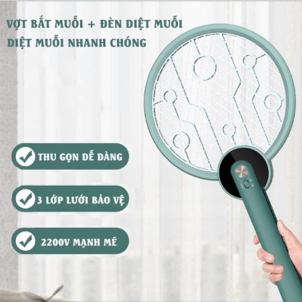 Vợt muỗi thông minh 2 trong 1, vợt muỗi cao cấp kiêm đèn diệt muỗi tự động có thể gấp gọn, diệt muỗi hiệu quả, tiết kiệm điện năng