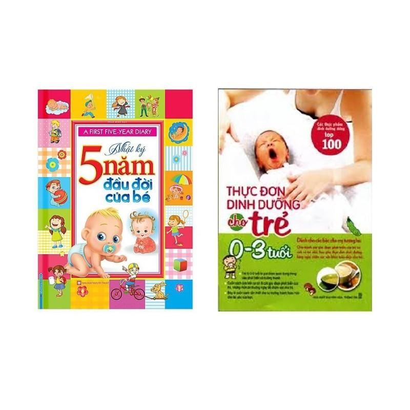 Sách - Combo nhật ký 5 năm đầu đời của bé +Thực đơn dinh dưỡng cho trẻ từ 0-3 tuổi + Tặng sổ tay