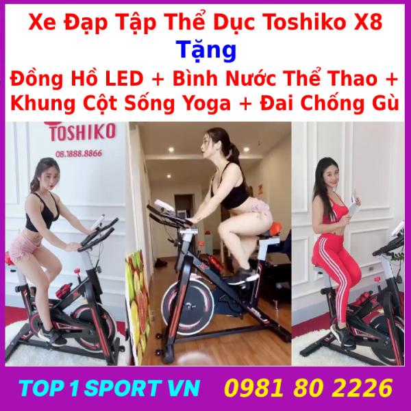 Xe đạp tập thể dục | xe đạp tập gym | xe đạp tập thể thao Toshiko X8 chính hãng - tặng kèm khung cột sống + hít tập bụng hoặc tặng Bóng bàn phản xạ cao cấp + ( bình nước, đồ hồ đo nhịp tim ) - bảo hành 36 tháng