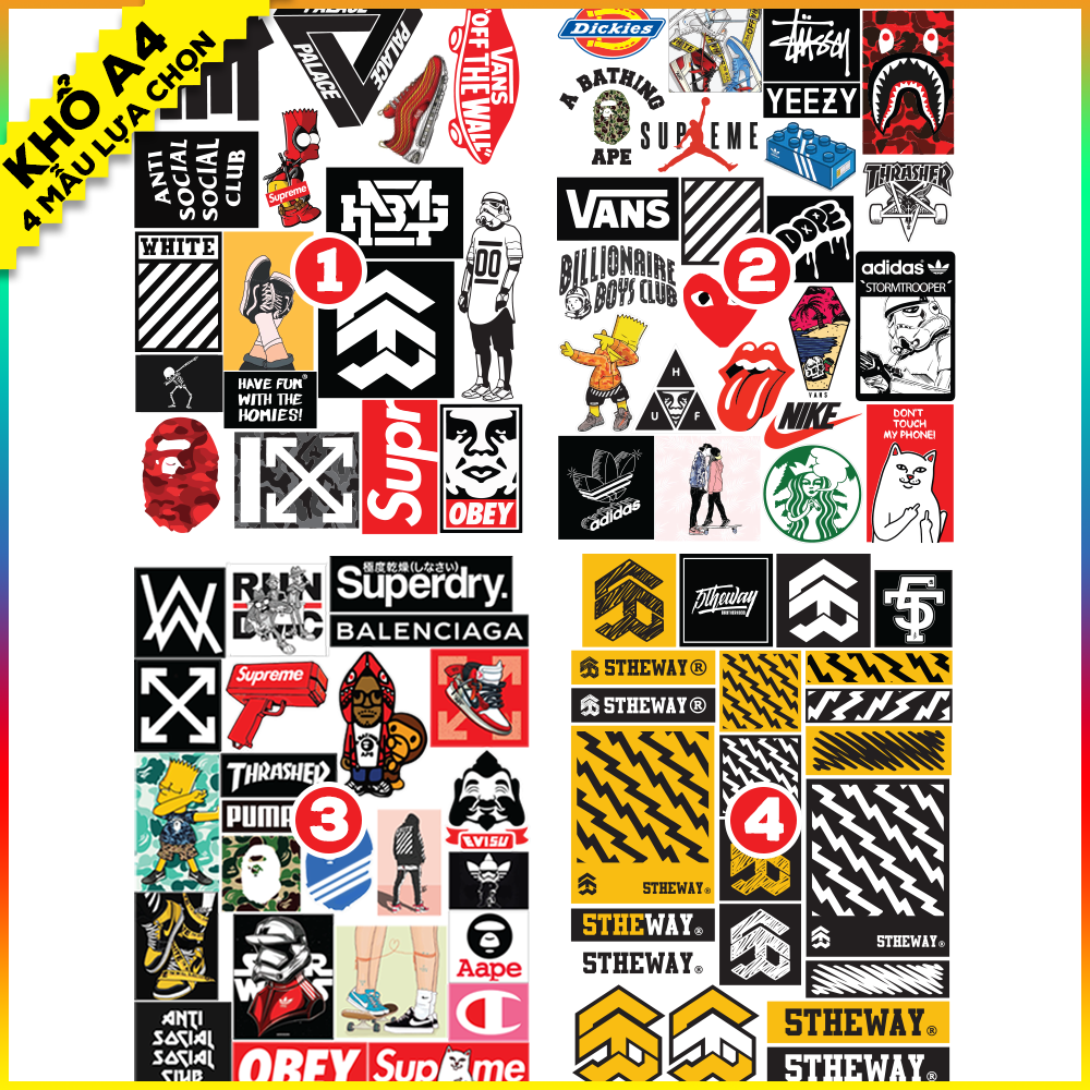 Giá Quá Tốt Để Có Bộ Hình Dán Sticker Hypebeast, Bape, Supreme, Off White, 5theway - Hình Dán Mũ Bảo Hiểm, Hình Dán Laptop, Hình Dán Điện Thoại, Sticker Dán Xe