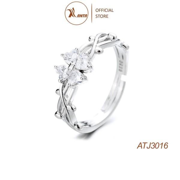 Nhẫn Bạc 925 Hình Cỏ Bốn Lá Đính Đá Xinh Xắn Cho Nữ ANTA Jewelry - ATJ3016
