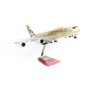 Mô hình máy bay lắp ráp có đèn led Etihad Airways Airbus A380 47cm Everfly thumbnail