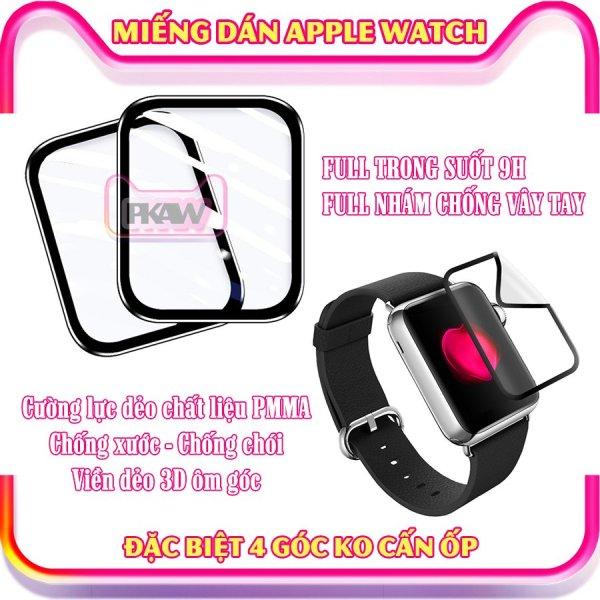 (Đặc biệt 4 góc ko cấn ốp) Miếng dán Apple Watch full size 38/40/42/44mm - Kính cường lực dẻo full màn viền cong 3D - Trong suốt chống chói, chống nước - Nhám chống trầy xước, chống vân tay