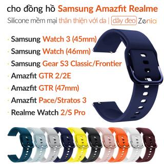 Zenia 22mm Dây đeo đồng hồ bằng silicon mềm thời trang thân thiện với da cho Samsung Galaxy Watch 3 45mm 46mm Gear S3 Classic Frontier 2 Neo Live R380 R381 R382 cho Amazfit GTR 47mm 2 2E GTR2 Stratos Stratos+ 3 Pace cho Realme S Pro Mi đồng hồ thông minh thumbnail