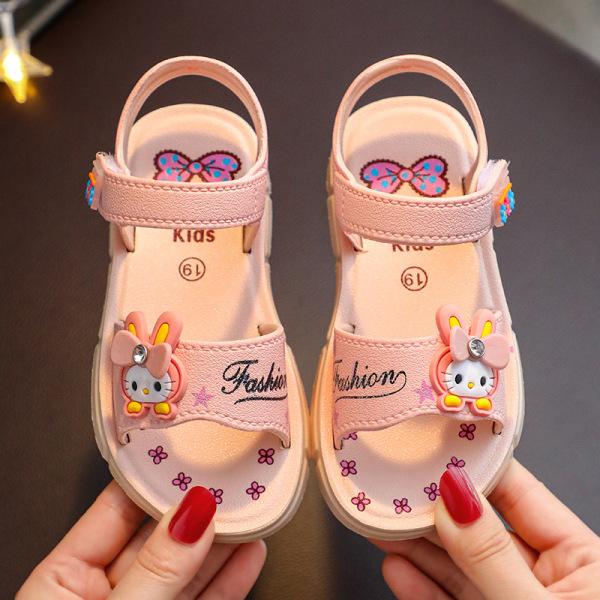 Giá bán Êm mềm thoáng chân cho bé-Giày sandal cao su mềm quai dán êm chân cho bé gái đến trường hình thỏ con cute chú ý size