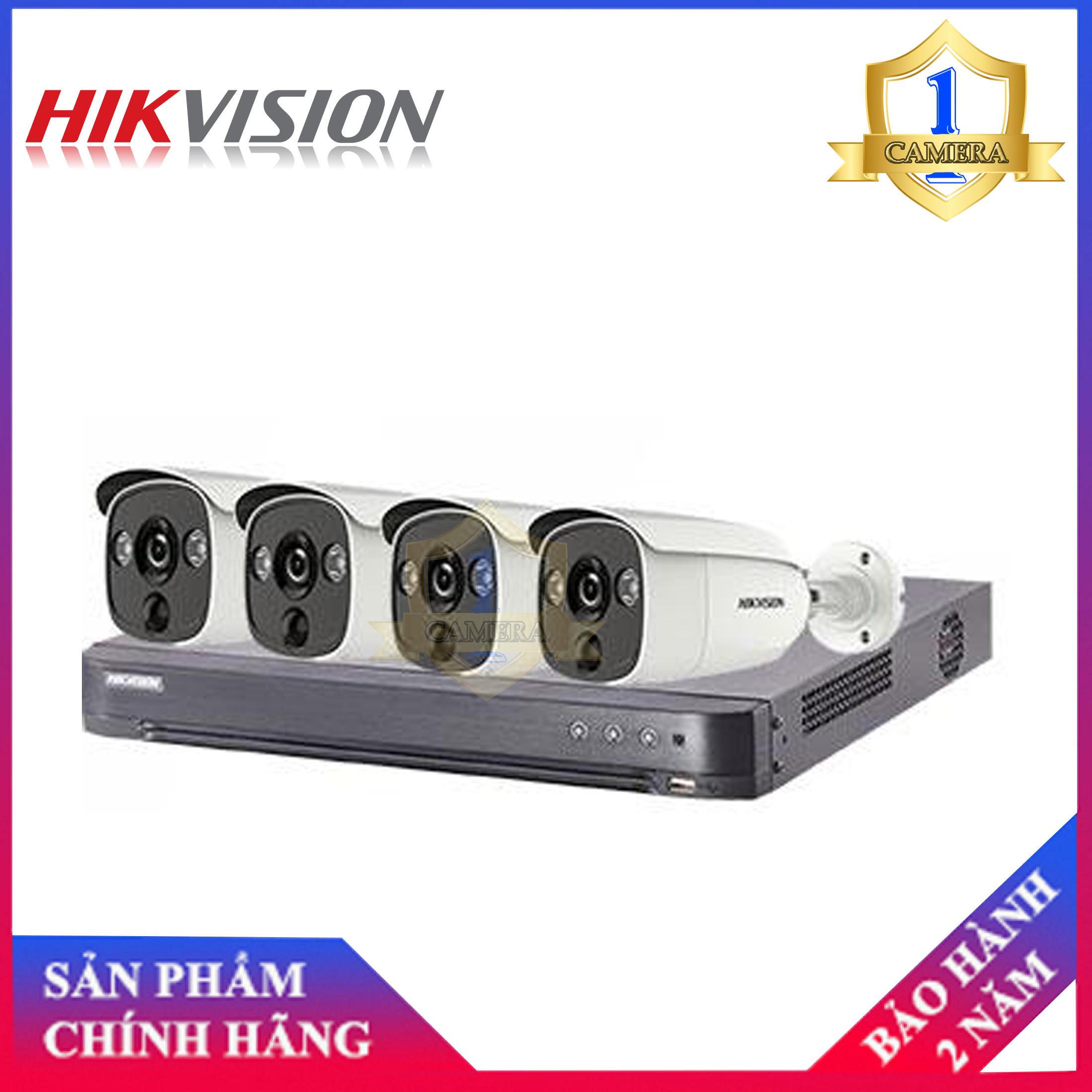 Trọn bộ 4 camera Hikvision DS-2CE12H0T-PIRL (5MP) + đầu ghi 4 kênh DS-7204HUHI-K1