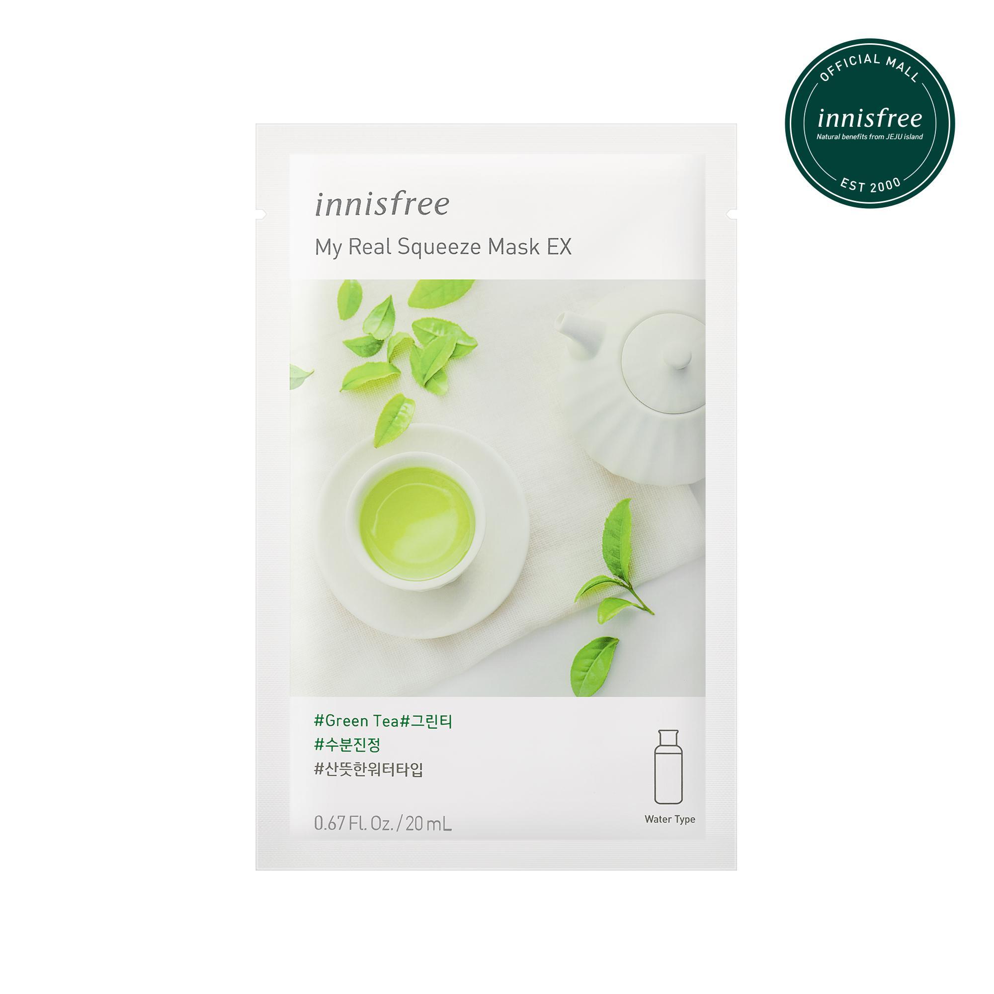 Mặt nạ giấy làm sáng & cấp nước cho da từ trà xanh Innisfree My Real Squeeze Mask - Green Tea 20ml
