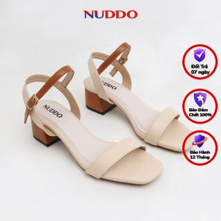 Giày Sandal cao gót nữ thời trang Nuddo da mềm gót vuông cao 3 phân quai ngang sang trọng thumbnail