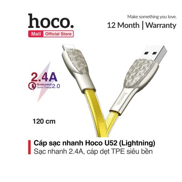 Cáp sạc Lightning Hoco U52 sạc nhanh 2.4A cho iPhone/iPad dài 1.2m