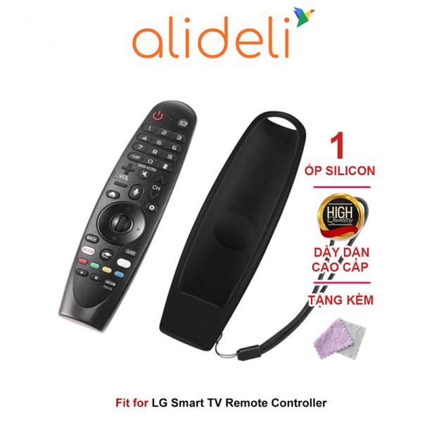 Ốp bọc bảo vệ chống sốc dành cho remote thông minh LG bằng silicon màu đen FN10101 - Alideli tặng kèm khăn lau đa năng
