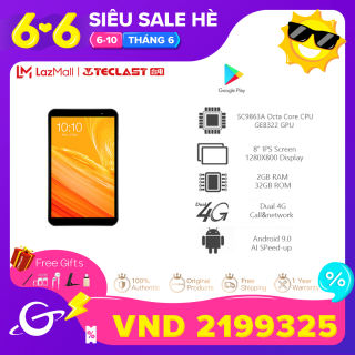 Teclast P80X 8inch 2GB RAM 32GB ROM 4GTablet Android 9.0 1280 x 800 IPS SC9863A SOC Octa Core 1.6GHz Dual Cameras Tablet