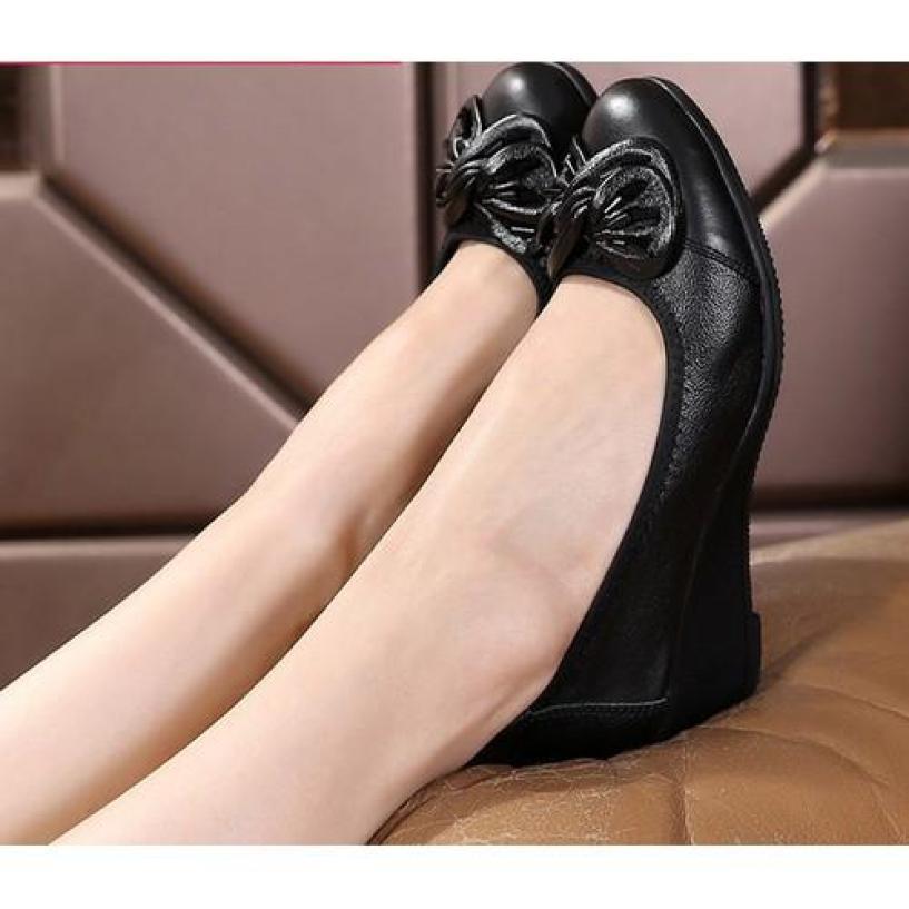 Giày búp bê đế độn đính nơ xinh xắn cho nữ giá rẻ
