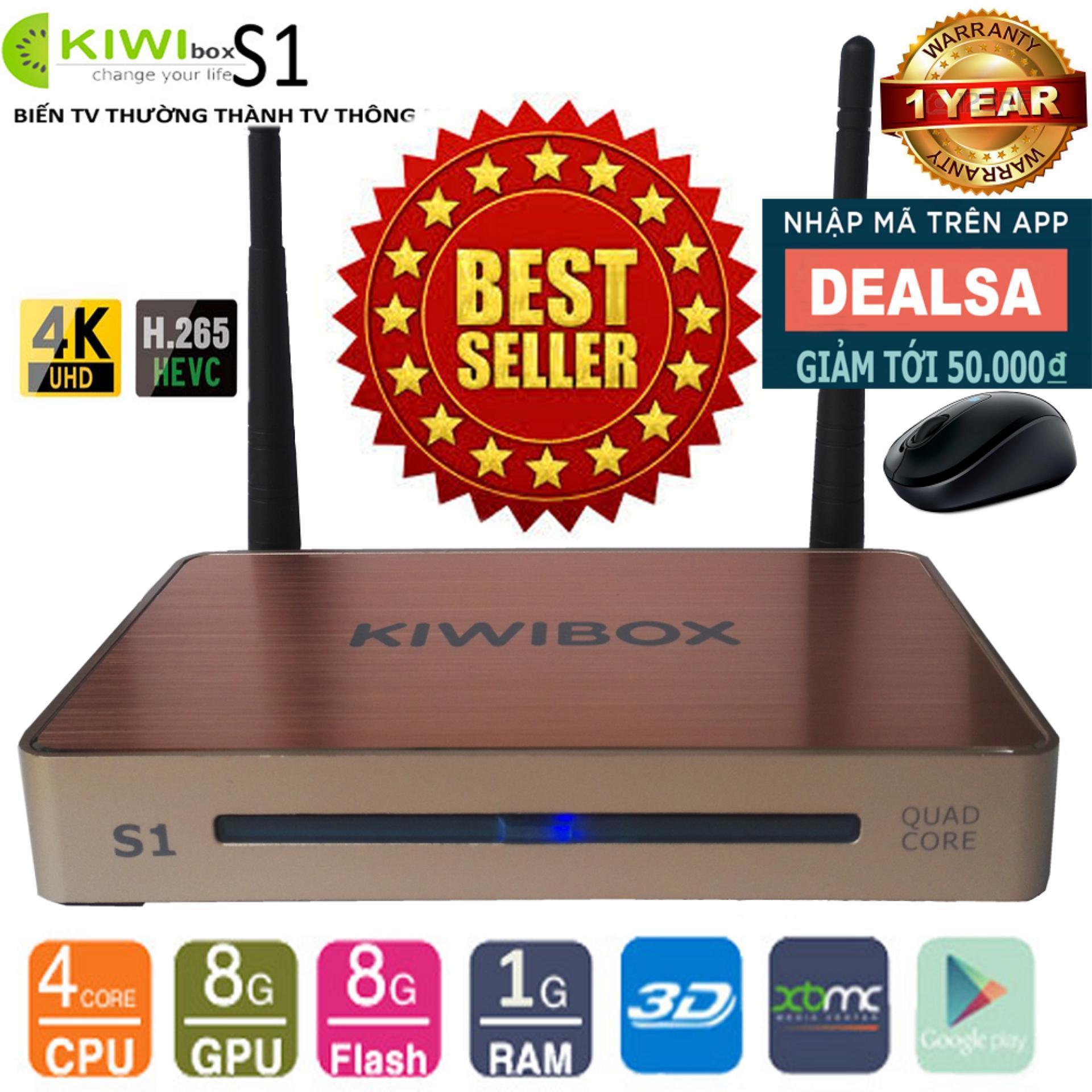 Android Tivi Box Ultra HD Kiwi S1 tặng kèm Chuột Không Dây Forter V181