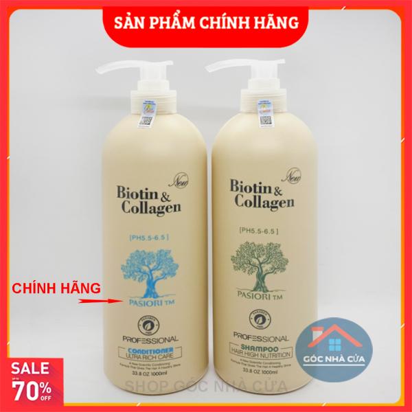 Cặp dầu gội xả Biotin collagen (Dung tích mỗi chai 1000 ml) Giảm Rụng Tóc, Phục Hồi Tóc Khô Xơ, Hư Tổn | Hàng Chính Hãng CHAI TO