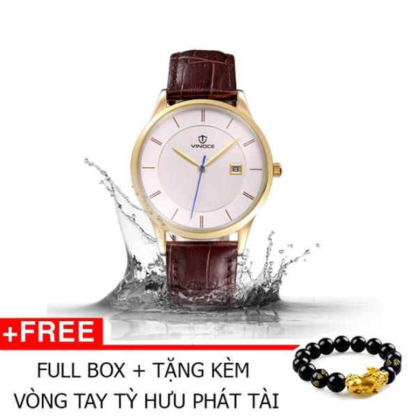 Đồng hồ nam thời trang dây Da chống nước Vinoce mặt siêu mỏng có lịch ngày Tặng vòng Tỳ Hưu